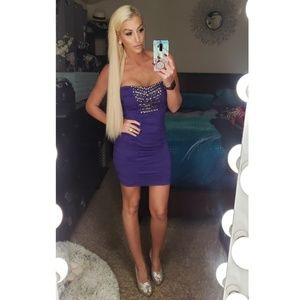 2B BEBE Strapless Scrunch Purple Dress